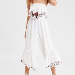 American Eagle Floral Embroidered Tube Jumpsuit